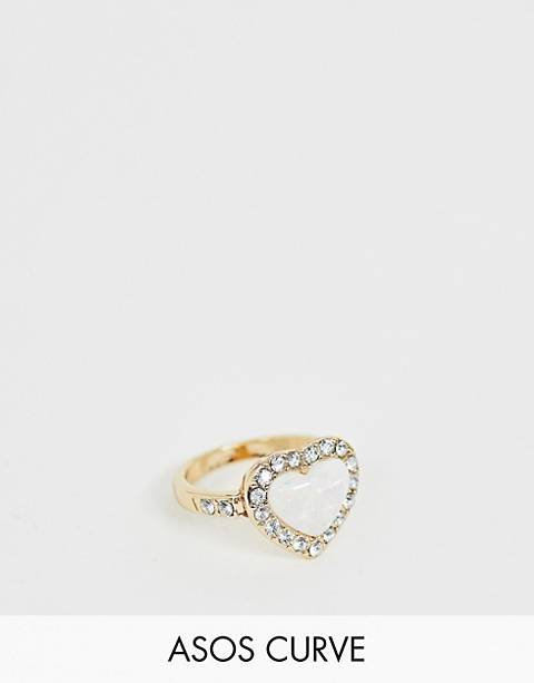 ASOS DESIGN Curve exclusive ring in heart shape with faux opal stone and crystals in gold