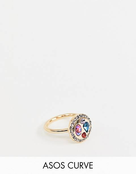ASOS DESIGN Curve exclusive ring with rope design and color jewels in gold