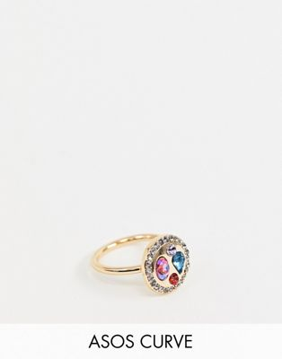 ASOS DESIGN Curve exclusive ring with rope design and colour jewels in gold