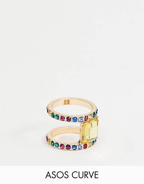 ASOS DESIGN Curve exclusive statement ring with rainbow crystals and square jewel in gold