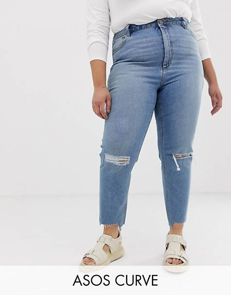 cb343edae3f ASOS DESIGN Curve Farleigh high waist slim mom jeans in light vintage wash  with busted knee
