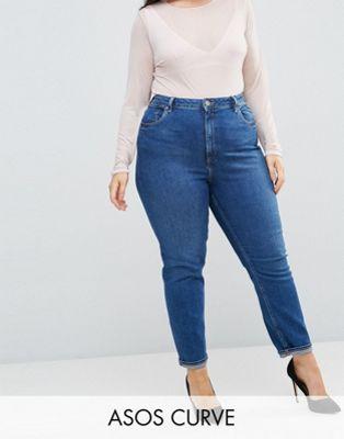 Immagine 1 di ASOS DESIGN Curve - Farleigh - Mom jeans slim vita alta blu intenso