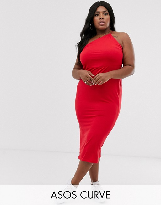 ASOS DESIGN Curve going out one shoulder bodycon midi dress