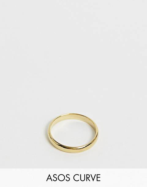 ASOS DESIGN Curve gold plated sterling silver sleek thick band ring