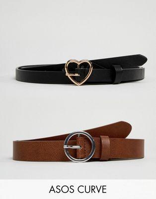 ASOS DESIGN Curve – Gürtel mit Herz- und Kreisanhängern, 2er-Pack, auf Taille/Hüfte zu tragen