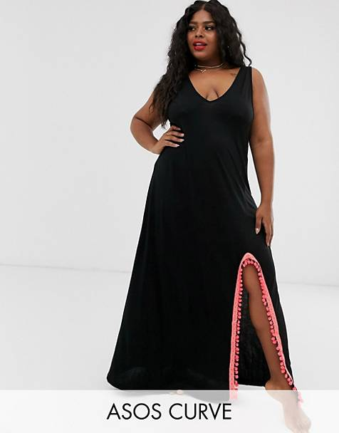 ASOS DESIGN Curve jersey beach maxi cover up with side split & neon tape trim
