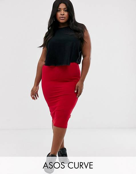 ASOS DESIGN Curve jersey pencil skirt