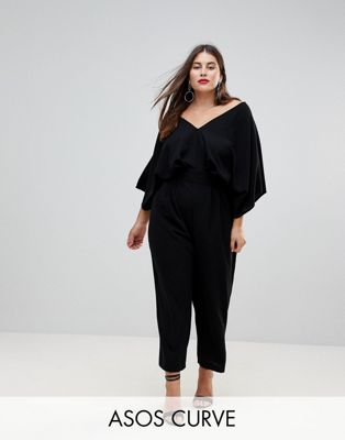 Image 1 of ASOS DESIGN Curve jumpsuit with kimono sleeve and peg leg
