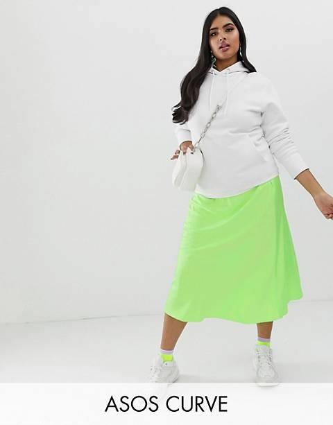 ASOS DESIGN Curve - Jupe mi-longue en satin coupée en biais - Fluorescent