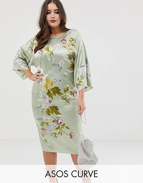 ASOS DESIGN Curve kimono midi pencil dress in satin floral embroidery