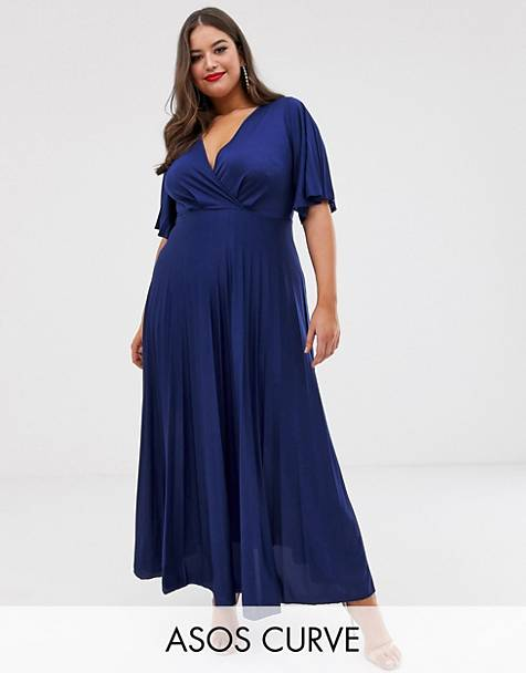ASOS DESIGN Curve kimono pleated maxi skater dress