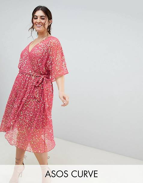ASOS DESIGN Curve kimono sequin wrap midi skater dress