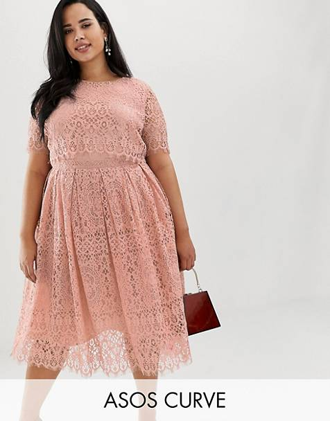 ASOS DESIGN Curve Lace short sleeve midi prom dress