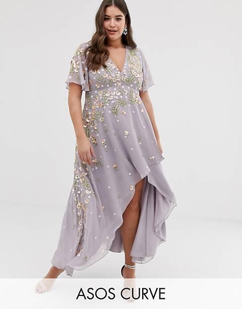 ASOS DESIGN Curve - Lange jurk met 3D-versiering volantmouwen en lange achterkant
