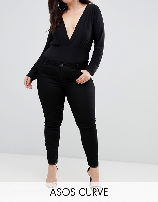 Image 1 of ASOS DESIGN Curve Lisbon mid rise skinny jeans in clean black