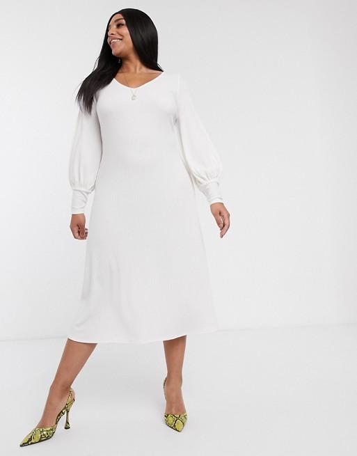 Asos Design Curve Long Sleeve Swing Rib Bow Back Midi Dress by Asos Design