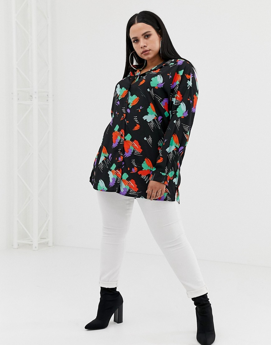 Asos Design Curve Longline Long Sleeve Shirt In Abstract Print by Asos Design