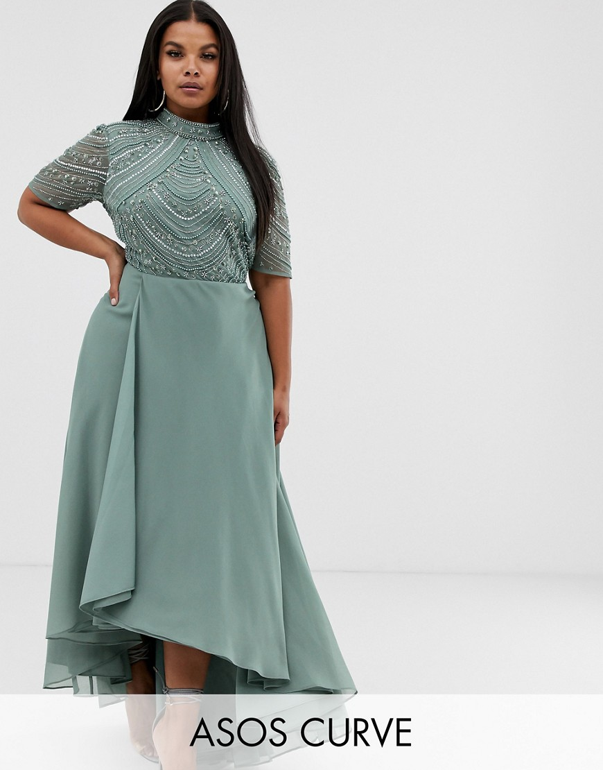 ASOS DESIGN Curve maxi dress with short sleeve embellished bodice