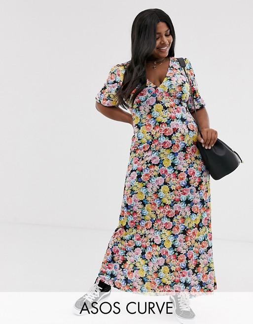 ASOS DESIGN Curve maxi tea dress in floral print