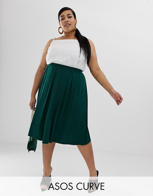Image 1 of ASOS DESIGN Curve midi skirt with box pleats
