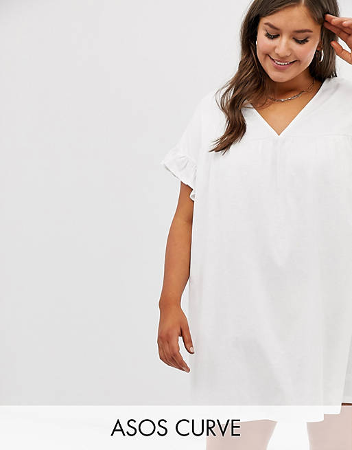 ASOS DESIGN Curve mini reversible cotton slub smock dress