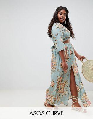 ASOS DESIGN curve mint paisley print two-piece maxi skirt with split front