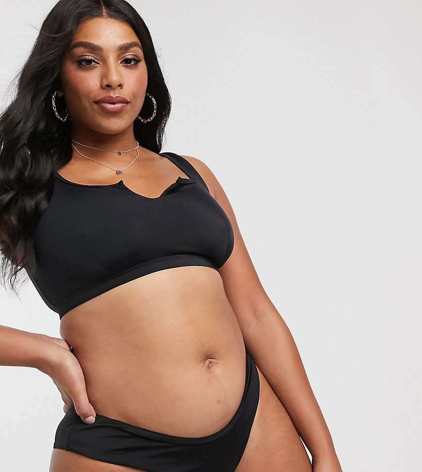 ASOS DESIGN Curve – Mix & Match – Bikinihose aus recycelten Materialien in Schwarz