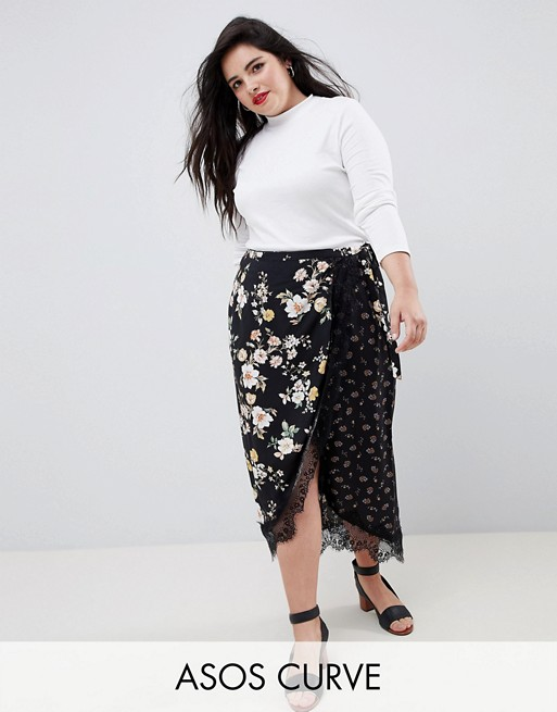ASOS DESIGN Curve mixed ditsy floral wrap midi skirt with lace trim