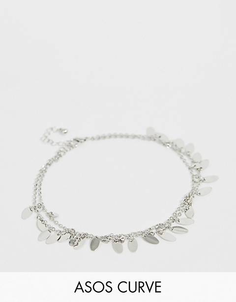 ASOS DESIGN Curve multirow anklet with pretty drops in silver tone