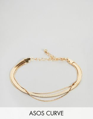 ASOS DESIGN Curve multirow bracelet with vintage style flat snake chain in gold
