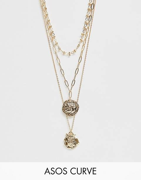 ASOS DESIGN Curve multirow necklace with mixed link chains and worn coin pendants in gold tone
