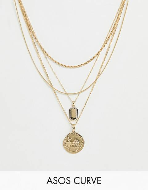 ASOS DESIGN Curve multirow necklace with worn coin and crystal detail tag pendants in gold