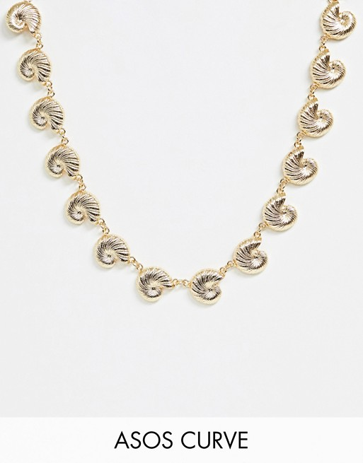 Image 1 of ASOS DESIGN Curve necklace with metal shell pendants in gold tone