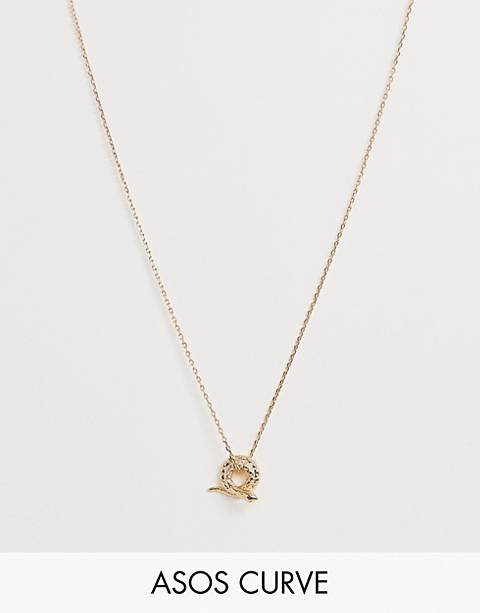 ASOS DESIGN Curve necklace with vintage style snake pendant on thread through chain in gold