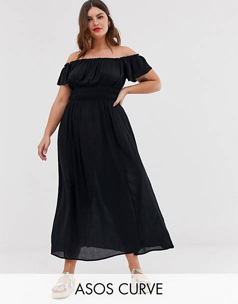 5194103eb48 ASOS DESIGN Curve off shoulder crinkle maxi dress