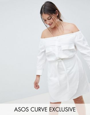 ASOS DESIGN Curve Off Shoulder Linen Mini Dress With Belt Detail