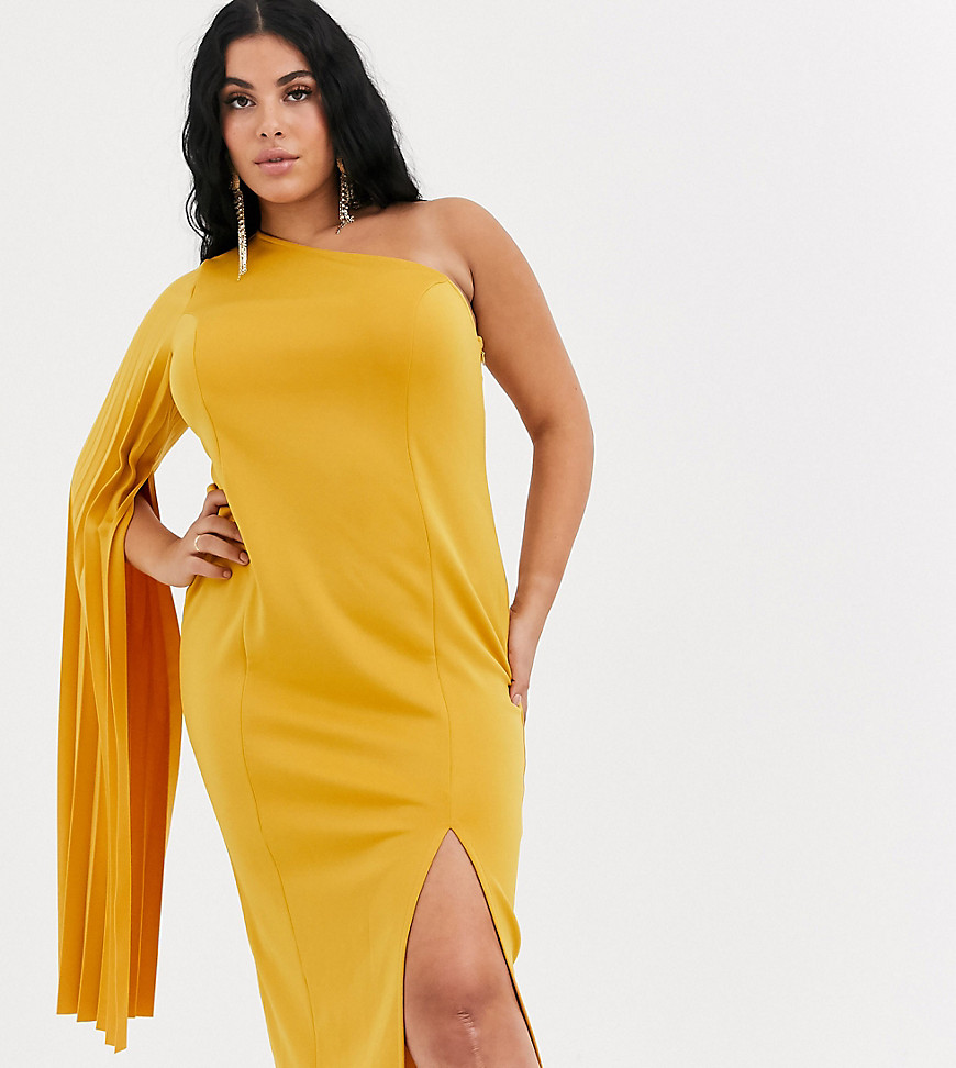 asos design curve one shoulder pleated midi dress-yellow