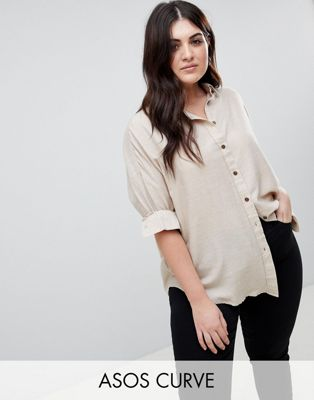 ASOS DESIGN Curve Oversized Shirt In Casual Marl