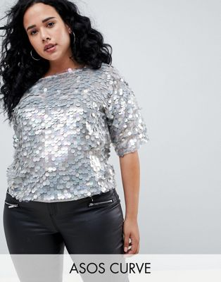 ASOS DESIGN Curve oversized t-shirt with all over disc sequins