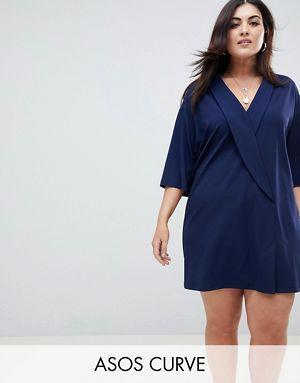 ASOS DESIGN Curve button front short sleeve midi smock dress - Navy Asos Curve mUlby