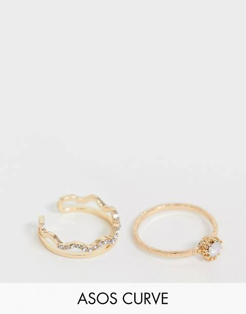 ASOS DESIGN Curve pack of 2 rings with faux stone and crystal wave design in gold