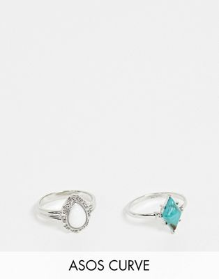 ASOS DESIGN Curve pack of 2 rings with semi-precious style stones and engraved detail in silver tone
