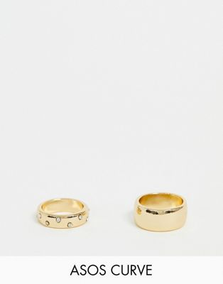 ASOS DESIGN Curve pack of 2 rings with thick band design in plain and crystal in gold