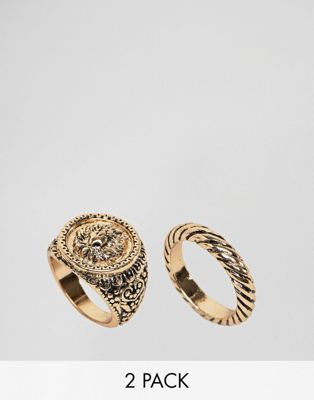 ASOS DESIGN Curve Pack Of 2 Twist And Lion Sovereign Rings