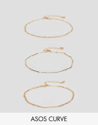 ASOS DESIGN Curve pack of 3 anklets with multi row chains in gold
