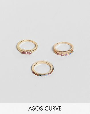 ASOS DESIGN Curve pack of 3 rings in multicolour crystals in gold