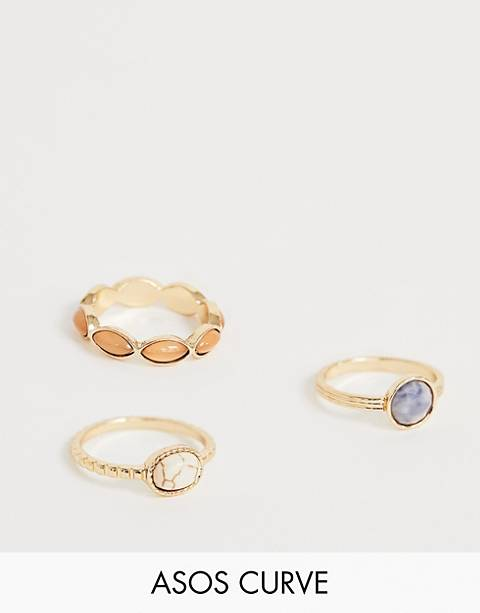 ASOS DESIGN Curve pack of 3 rings with mixed faux stone design in gold