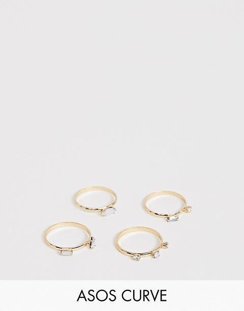 ASOS DESIGN Curve pack of 4 rings with stone and crystal details in gold