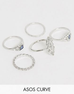 ASOS DESIGN Curve pack of 5 rings in engraved design with faux abalone stone in silver tone