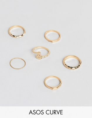 ASOS DESIGN Curve pack of 6 rings in hammered and flat top design in gold